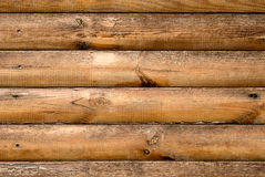 Log house ash wood with hammered nails texture Royalty Free Stock Photo