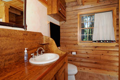 Log house Bath room Stock Photo