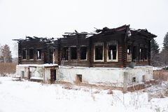 The house that burned down in the winter. royalty free stock photography
