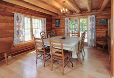Log house dinning room Royalty Free Stock Photos