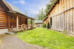 Log house exterior and shed. Stock Images