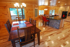 Log house kitchen and dining interior