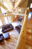 Log house loft and living area Stock Photography