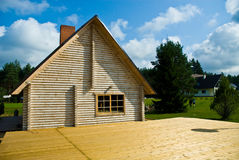 Log house sauna. A log house sauna in surrounded by beautiful natural landscape Stock Images