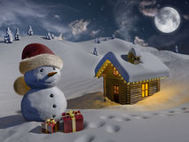 Log house in the snow at Christmas. Computer generated image of a snowy landscape in the night, with a log house and a snowman Royalty Free Stock Images