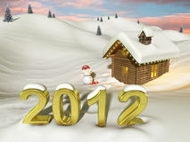 Log house in the snow at Christmas. Very high resolution 3d rendering of a Christmas landscape Royalty Free Stock Photo