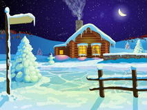 Log christmas house in snow Stock Photography