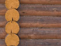 Log house structure of wood building home exterior stock image