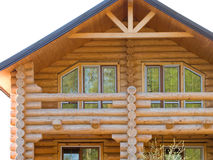 Log house structure of wood building home exterior
