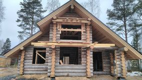 Log house. Under construction Stock Photography