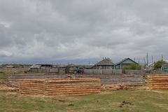 Log houses from pine logs in the meadow. Logs cleared of bark stock photography