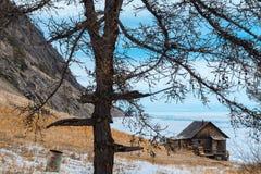 Log hut at Olkhon island in Lake Baikal Stock Photos