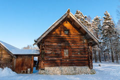 Log Hut in the Winter royalty free stock photo