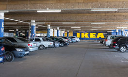 Log in hypermarket IKEA from the car parking under the building Stock Image