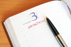 The daily log with an inscription vacation Royalty Free Stock Images