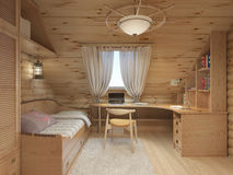 Log interior room for a teenager from the timber in a marine sty Royalty Free Stock Photo