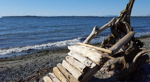 Log Lean-to. While walking along the beach I stumbled upon this little creation Royalty Free Stock Image