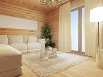Log living room interior in modern style with a sofa and a large Stock Photo
