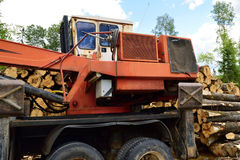 Log Loader Cab and Outriggers Stock Photo