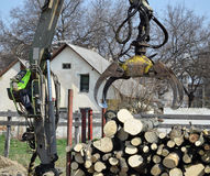 Log loader machinery at work Royalty Free Stock Photography