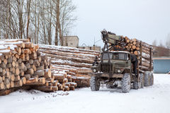 Log loader track with timber. In lumber-mill in winter season Royalty Free Stock Photos