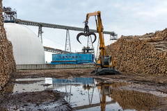 Log loading tractor standing near a pile of logs. Stock Image
