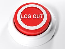 LOG OUT red push button - 3D rendering. A red circular push button with the write LOG OUT on its top - 3D rendering illustration Stock Images