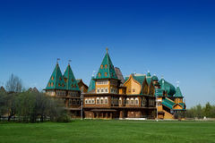 Log Palace in Moscow in Park Stock Image