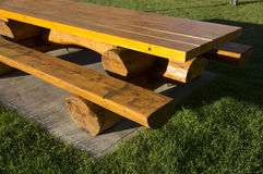 Log Picnic Table Rest Area Royalty Free Stock Image