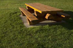 Log Picnic Table Rest Area Stock Photography