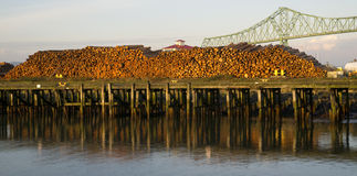 Log Pier Over the Columbia River Astoria OR Stock Photography