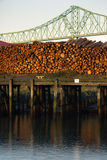 Log Pile Columbia River Pier Wood Export Timber Royalty Free Stock Images