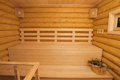 Log sauna inside Royalty Free Stock Photo