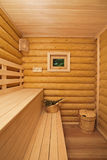 Log sauna with window Stock Image