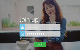 Log-in screen with redheaded woman Royalty Free Stock Photo