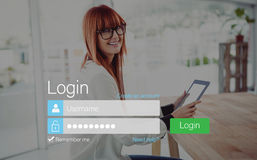 Log-in screen with redheaded woman and pad device Stock Image