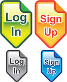 Log In Sign Up Icons Colors vectors. Eps file Stock Images