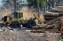 Logging skidder and logs Royalty Free Stock Image