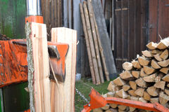 Log splitter in use Stock Photo