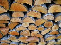 Log stack. Close-up of log stacks ready to use for the firewood Royalty Free Stock Photo