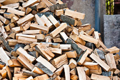 Log stockpile lumber for winter heap Royalty Free Stock Photos