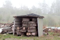 A log storage on the field royalty free stock photo