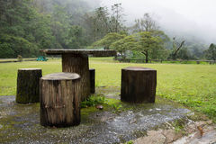 Log Tables in The Park Stock Photography