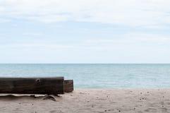 Log Tree Chair At Seaside Stock Photos