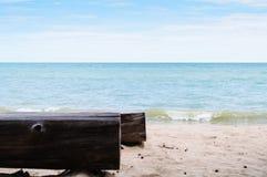 Log Tree Chair At Seaside Royalty Free Stock Photo