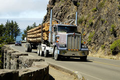 Log Truck 3. A load of logs being transported to the sawmill Stock Photos