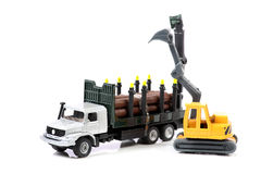 Log truck and loader machine Royalty Free Stock Photography