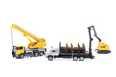 Log truck and loader machine Royalty Free Stock Photos
