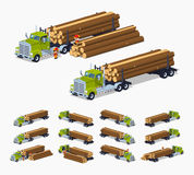 Log truck with the pile of logs Stock Photo