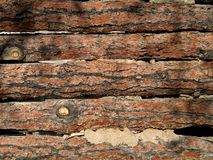 Log wall. Rustic brown split log wall Royalty Free Stock Images